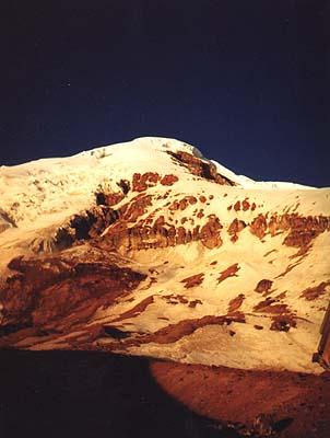 Chimborazo o zachodzie słońca